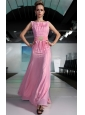 Pink Empire Bateau Floor-length Chiffon Beading and Ruch Prom / Graduation Dress