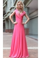 Beautiful Empire V-neck Floor-length Chiffon Sequins Prom Dress
