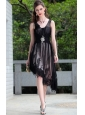 Black Empire V-neck Asymmetrical Lace and Taffeta Beading Prom / Homecoming Dress