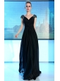 Black Empire V-neck Floor-length Chiffon Rhinestones and Sequins Prom / Evening Dress