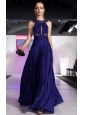 Royal Blue Column / Sheath Scoop Floor-length Chiffon Beading Prom / Evening Dress