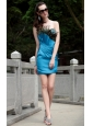 Blue Column Strapless Mini-length Taffeta Sequin Ruch Prom / Homecoming Dress