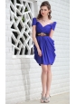 Royal Blue Column V-neck Mini-length Taffeta Beading Prom / Homecoming Dress