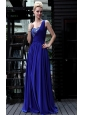 Royal Blue Empire One Shoulder Floor-length Chiffon Rhinestone Prom Dress