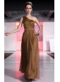 Brown Column / Sheath One Shoulder Floor-length Chiffon Beading Prom Dress