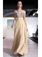 Champagne Column / Sheath V-neck Floor-length Chiffon Beading and Rhinestones Prom / Pageant Dress