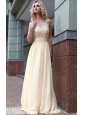 Champagne Empire Scoop Neck Floor-length Chiffon Beading Prom Dress