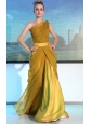 Maize Column / Sheath One Shoulder Floor-length Chiffon Ruch Prom / Evening Dress
