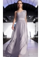 Gray Empire One Shoulder Floor-length Chiffon Ruch Prom / Graduation Dress