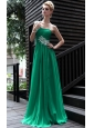 Green Empire One Shoulder Floor-length Chiffon Appliques Prom Dress