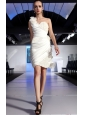 Ivory Column One Shoulder Mini-length Taffeta Hand Made Flowers Prom / Cocktail Dress
