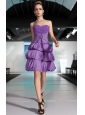Lavender Column Sweetheart Mini-length Chiffon Beading and Ruch Prom Dress