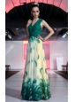 Luxurious Empire V-neck Floor-length Printing Beading and Ruch Prom / Celebrity Dress