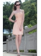 Light Pink Column / Sheath Strapless Mini-length Organza Ruch Prom / Homecoming Dress