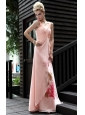 Light Pink Empire Halter Top Floor-length Beading Chiffon Prom / Party Dress