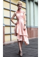 Pink Empire High Neck Asymmetrical Taffeta Beading Prom Dress