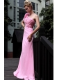 Pink Empire One Shoulder Brush Train Chiffon Beading Prom Dress