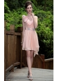 Pink Empire One Shoulder Mini-length Chiffon Beading Prom / Homecoming Dress
