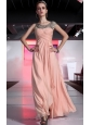Light Pink Empire Scoop Floor-length Chiffon Beading and Ruch Prom / Evening Dress