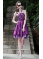 Purple A-Line / Princess Halter Knee-length Taffeta Rhinestones Prom / Cocktail Dress