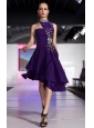 Purple A-line High-neck High-low Chiffon Beading and Rhinestone Prom Dress