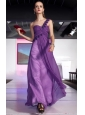 Purple Empire One Shoulder Floor-length Chiffon Beading Prom / Evening Dress