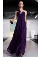 Dark Purple Empire One Shoulder Floor-length Sequin Beading and Ruch Prom / Celebrity Dress
