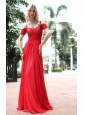Red Empire Off the Shoulder Floor-length Chiffon Pleat and Beading Prom Dress