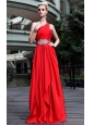 Red Empire One Shoulder Floor-length Beading Prom / Pageant Dress