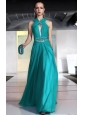 Teal Column / Sheath Asymmetrical Floor-length Chiffon Beading and Rhinestones Prom / Pageant Dress