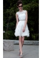 White A-line Bateau Mini-length Organza Lace Beading Prom / Homecoming Dress