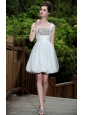 White A-line Square Mini-length Organza Rhinestones Prom / Homecoming Dress