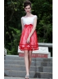 White and Red Empire Bateau Knee-length Organza Beading Prom / Homecoming Dress