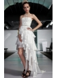 White Asymmetrical Strapless High-low Elastic Woven Satin Beading Prom / Pageant Dress