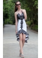 White Column / Sheath V-neck High-low Taffeta and Lace Beading Prom / Homecoming Dress