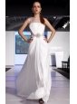 White Empire Scoop Brush Train Chiffon Beading and Ruch Prom / Celebrity Dress
