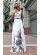 White Empire Straps Floor-length Beading Chiffon Prom / Party Dress