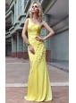 Yellow Column / Sheath One Shoulder Floor-length Prom / Pageant Dress
