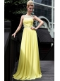 Yellow Empire Bateau Floor-length Chiffon Beading Prom Dress