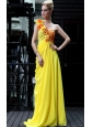 Yellow Empire One Shoulder Floor-length Chiffon Appliques Prom Dress