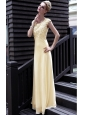 Yellow Empire Scoop Neck Floor-length Chiffon Beading Prom Dress