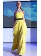 Yellow Empire Strapless Floor-length Chiffon Belt and Ruch Prom Dress