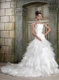 Modest A-Line/Princess Strapless Court Train Elastic Wove Satin and Tulle Beading and Ruffles Wedding Dress