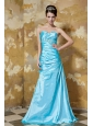 Aqua Blue Column Sweetheart Floor-length Elastic Woven Satin Appliques and Ruch Prom / Celebrity Dress
