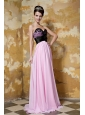 Baby Pink Empire Sweetheart Brush Train Chiffon and Elastic Woven Satin Hand Flower Prom / Celebrity Dress