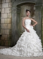 Beautiful A-Line / Princess Strapless Chapel Taffeta and Lace Ruffles Wedding Dress