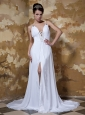 Beautiful Empire Straps Chapel Train Elastic Woven Satin and Chiffon Beading Wedding Dress