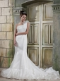 Beautiful Trumpet / Mermaid One Shoulder Chapel Train Satin and Organza Wedding Dress