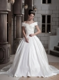 Brand New Ball Gown Off The Shoulder Chapel Train Satin Beading Wedding Dress