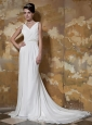 Brand New Empire V-neck Court Train Chiffon and Elastic Woven Satin Beading Wedding Dress